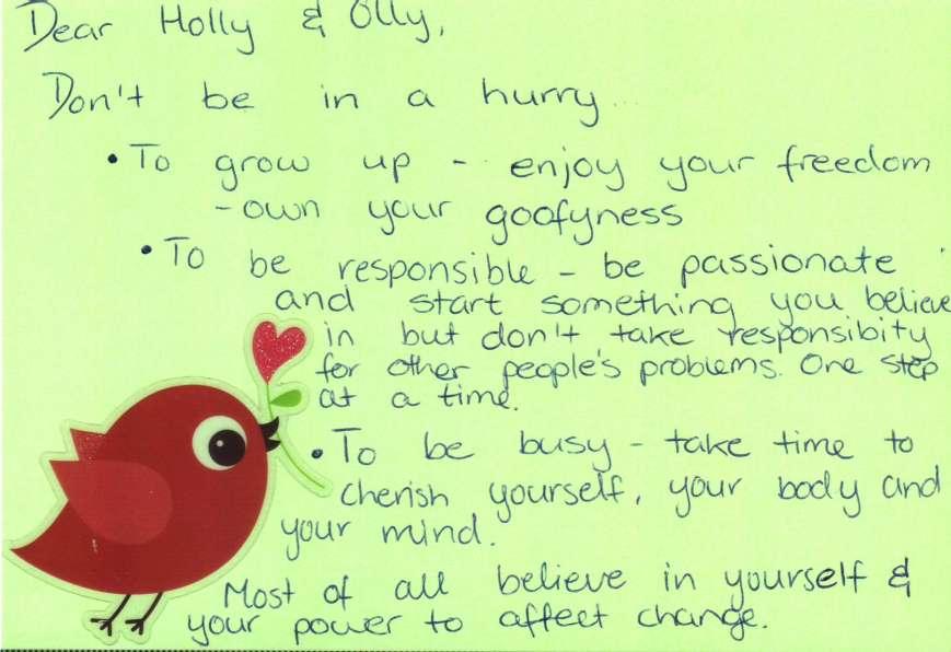 DearOlly advice postcard